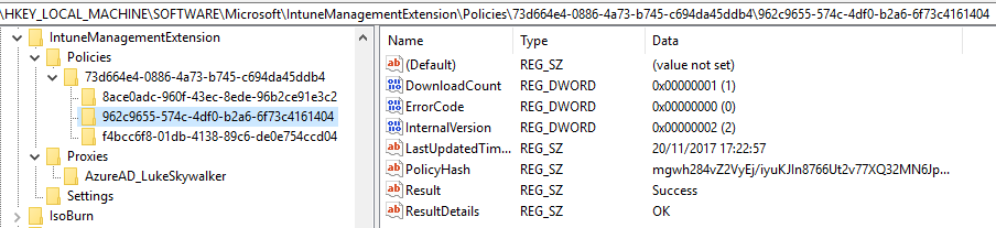 IntuneManagementExtensionRegistry