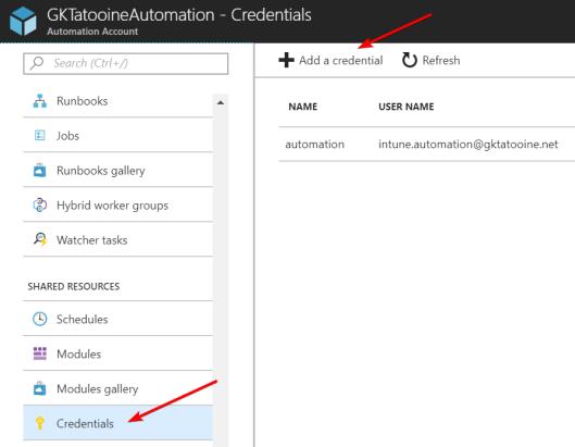 AddAzureAutomationCredential