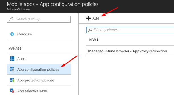 AppConfigurationAppProxyRedirection