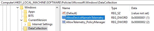 registry AllowDeviceNameInTelemetry policy setting