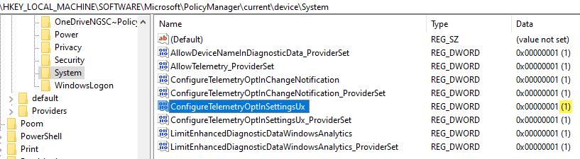 MDM PolicyManager hive setting - ConfigureTelemetryOptInSettingUx