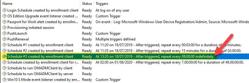 Windows 10 task scheduler MDM sync 8h interval