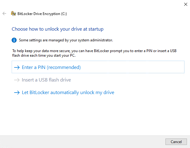 BitLocker encryption wizard