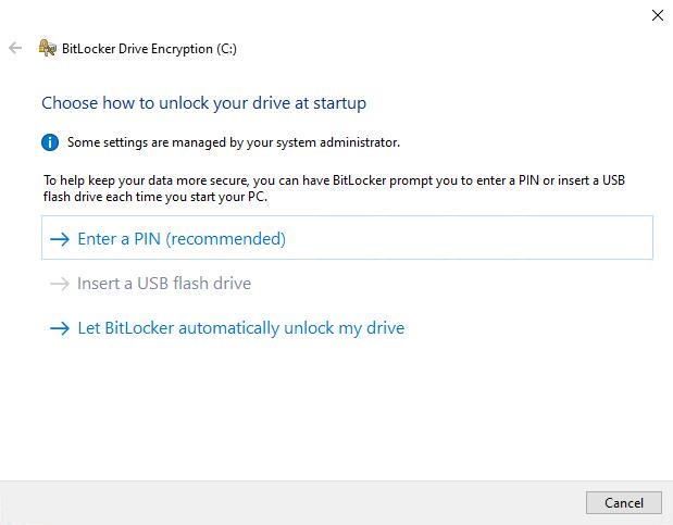 BitLocker encryption wizard