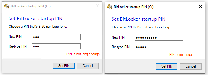 Set BitLocker startup PIN error messages