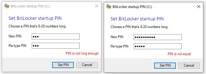 Set BitLocker startup PIN error messages