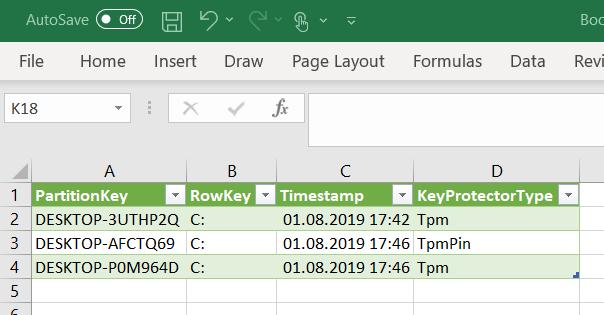 Microsoft Excel BitLocker Key Protector Type informaiton