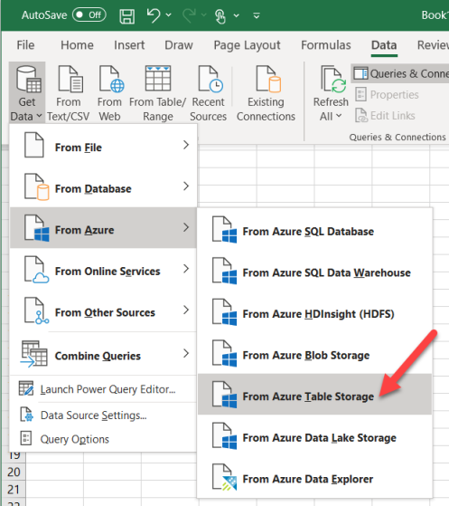 Microsoft Excel Get Data from Azure Table Storage