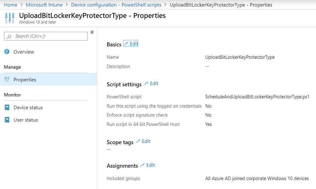 Intune PowerShell script Schedule and Upload BitLocker KEy Protector Type