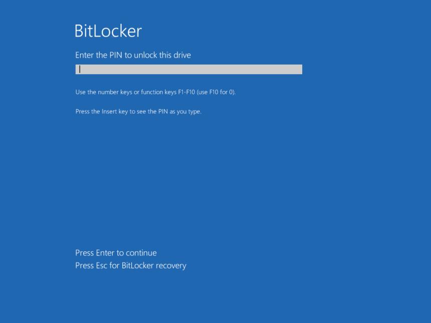 BitLocker pre-boot authentication startup PIN