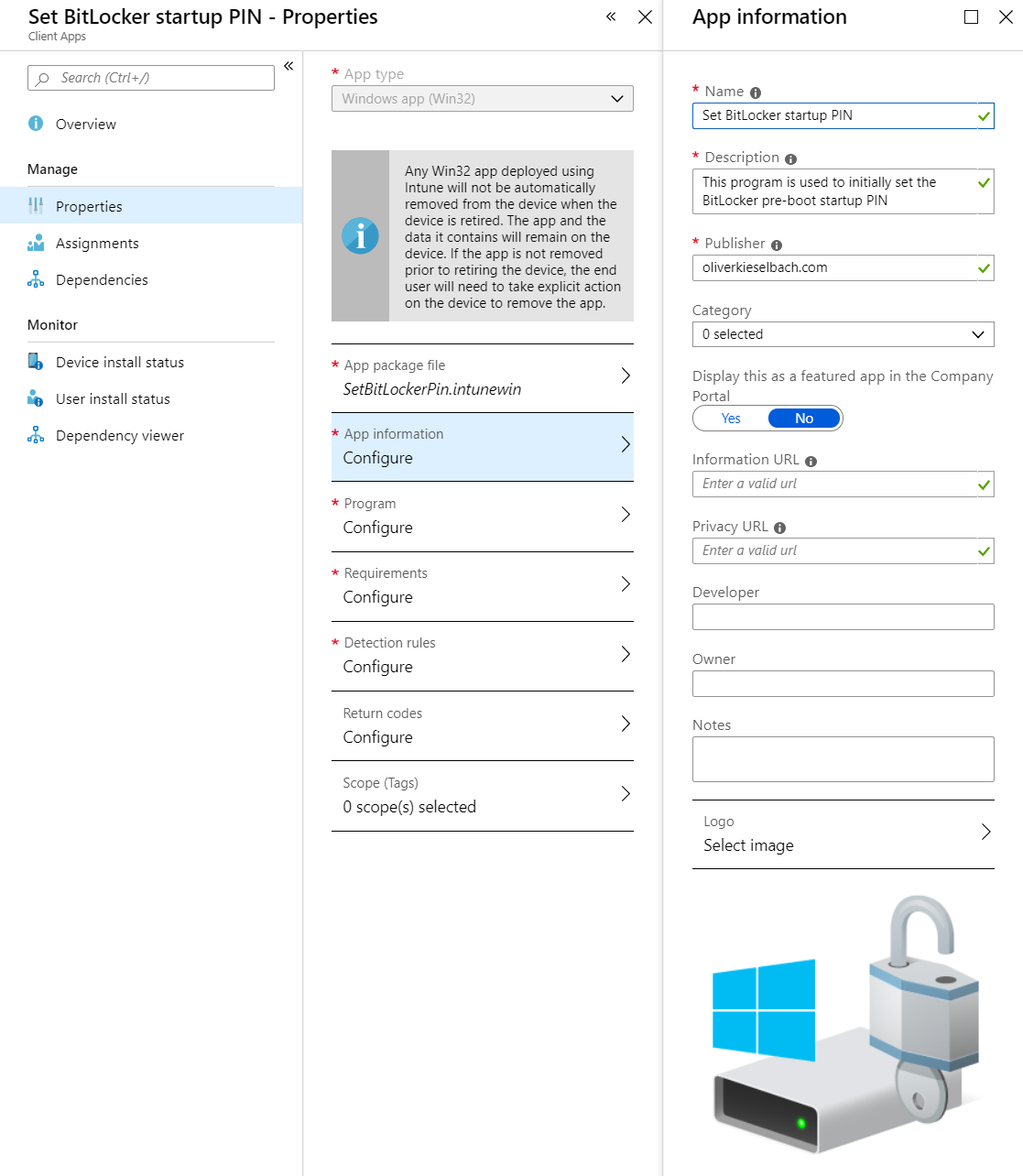 Intune Windows app (intunewin) Set BitLocker startup PIN properties