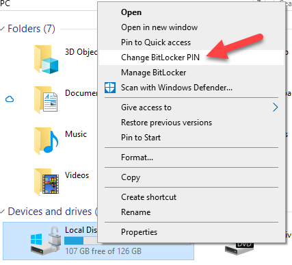 Windows 10 Change BitLocker PIN context menu
