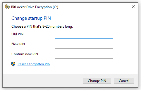 Windows 10 Change BitLocker PIN dialog