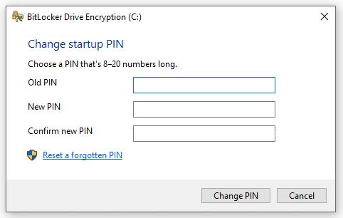 Windows 10 Change BitLocker PIN dialog