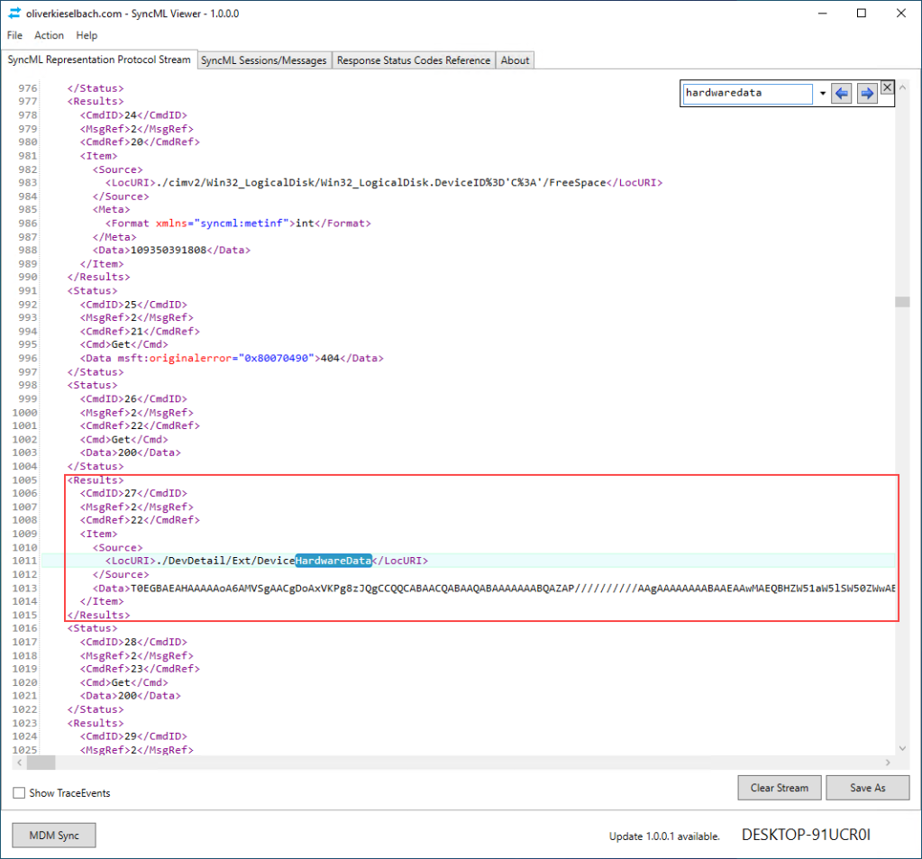 SyncML protocol device hardware data Autopilot hash