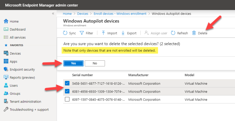Intune Autopilot devices deletion