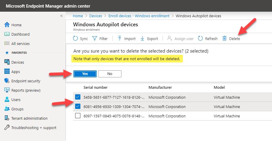 Microsoft Endpoint Manager Windows Autopilot deletion UI