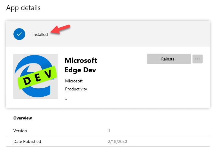 Company Portal app install details