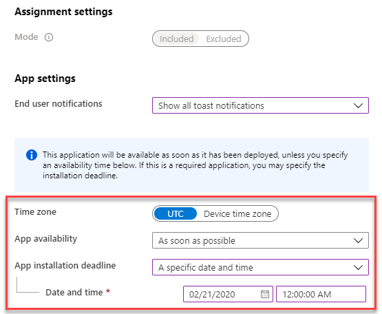 Intune Win32 App assignment settings