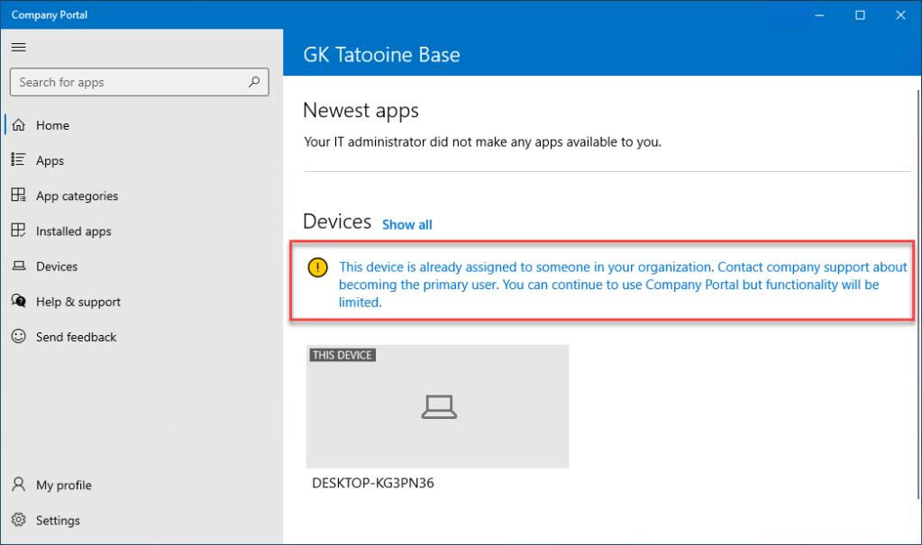 Company Portal message for non primary users