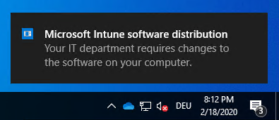 Intune IME toast message change notification