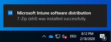 Intune IME toast message install success notification