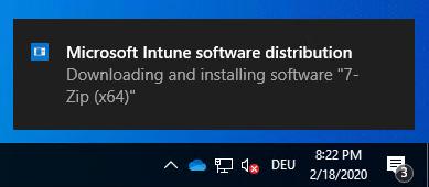 Intune IME toast message download notification