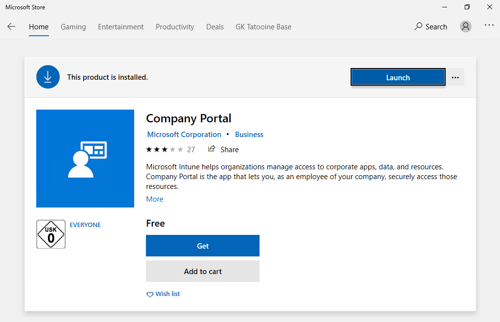 Microsoft Store with Company Portal details