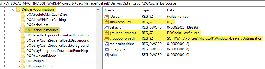 Delivery Optimization DOCacheHostSource MDM registry settings