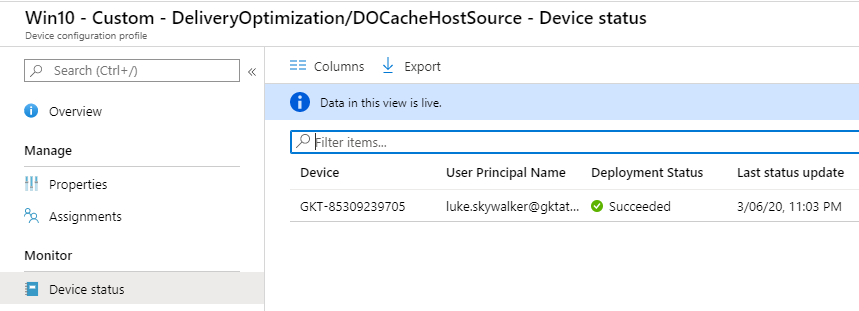 Intune custom profile Delivery Optimization DOCacheHostSource success message