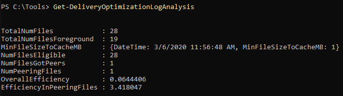 PowerShell Get-DeliveryOptimizationLogAnalysis output
