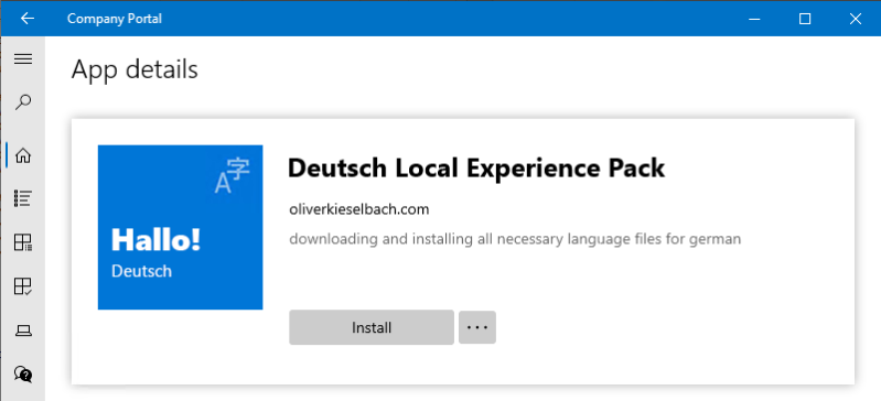Intune Company Portal Custom German Language Pack