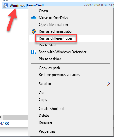 Run as different user context menu