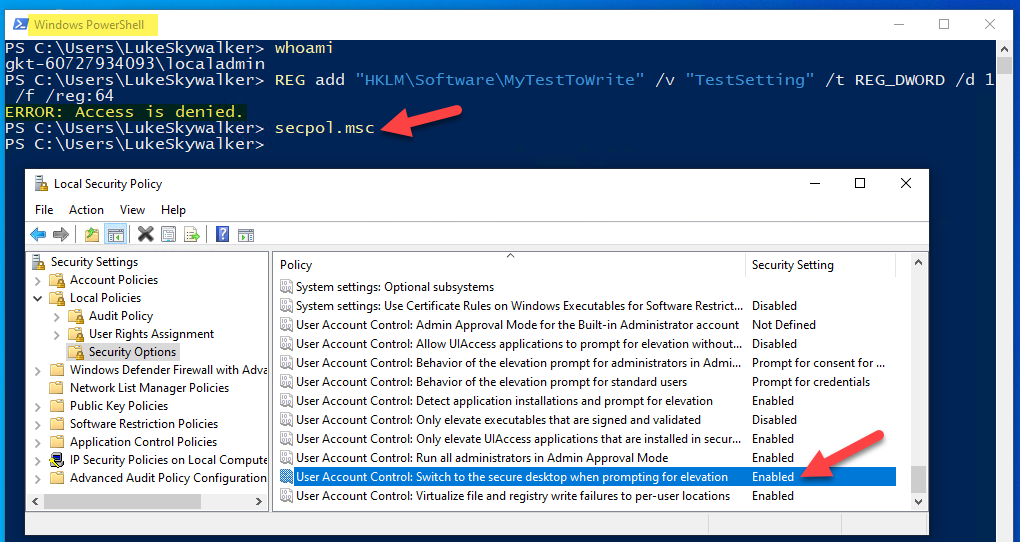 PowerShell running as differnt admin user and secpol.msc