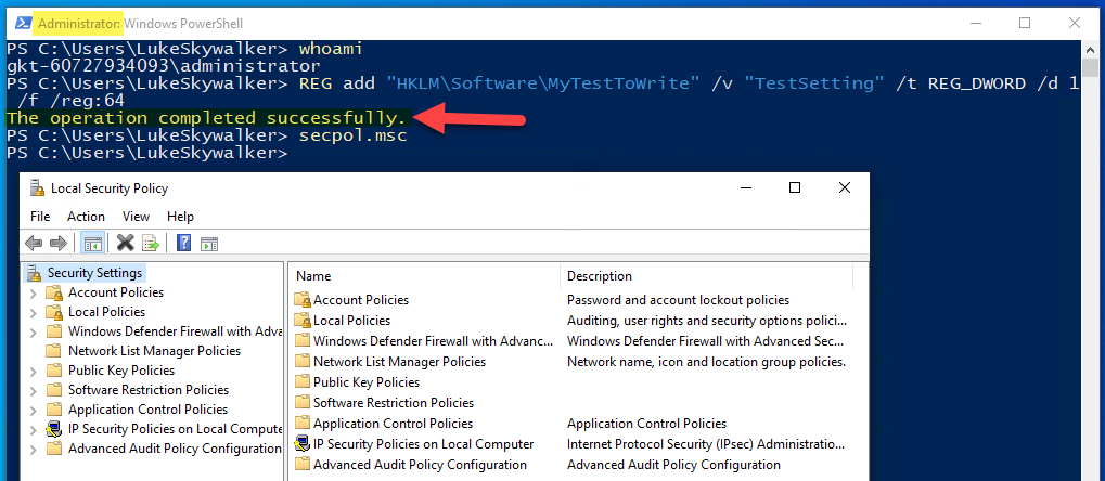 PowerShell running as built-in local Administrator account with elevation