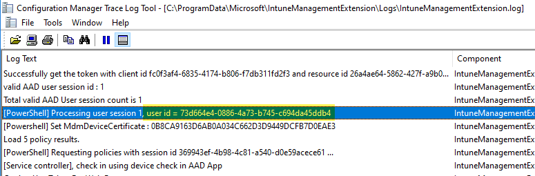 Intune Management Extension log file