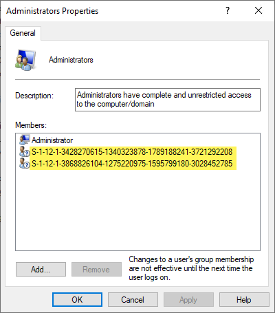 Local Administrators groups with Azure AD SIDs