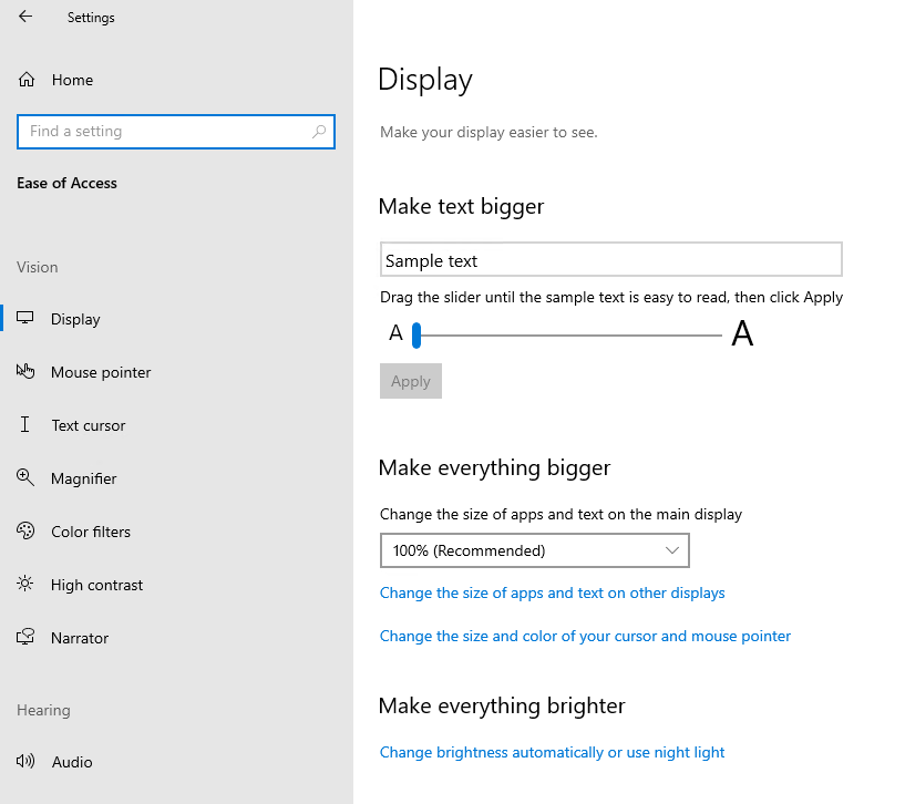 Windows 10 Version 2004 Ease of access settings default