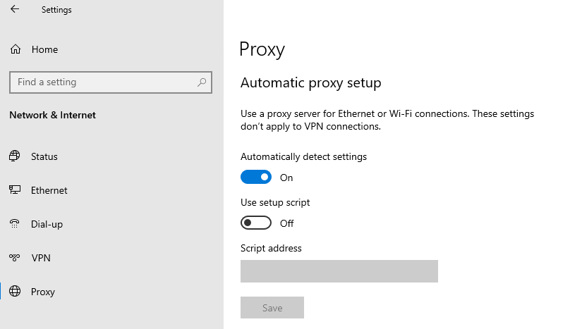 Network Proxy automatically detect settings turned on