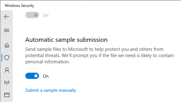 Defender automatic sample submission turned on (default setting)