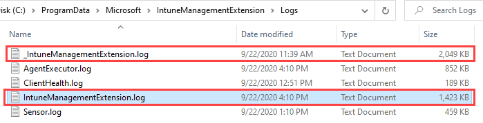 Intune Agent, Intune Management Extension (IME) log files