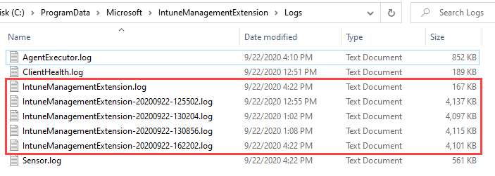 Intune Management Extension Log files