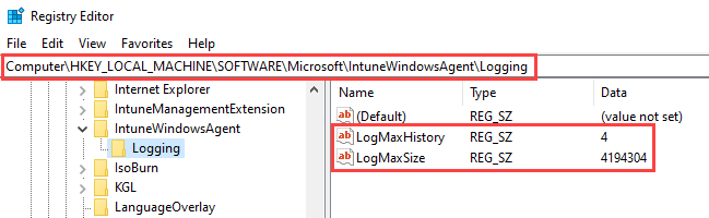 Intune Agent, Intune Management Extension (IME) log file parameters LogMaxHistory and LogMaxSize