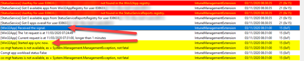 Intune Management Extension (IME) log file starting sync process