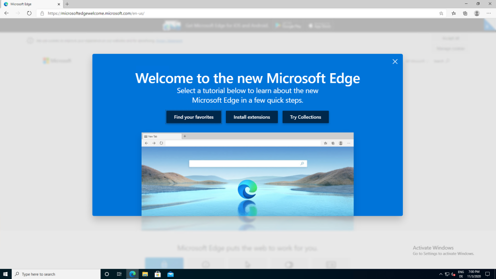 edge final welcome screen after startup