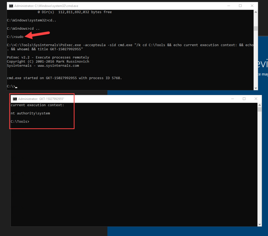 sudo batch file which automates psexec execution to run command prompt in system context