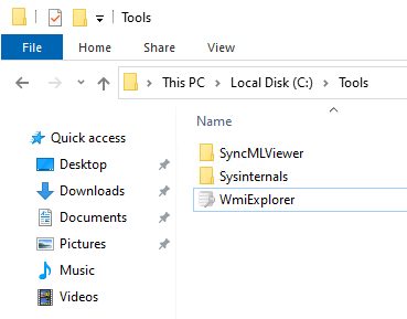 C:\Tools folder with common troubleshooting tools, SyncMLViewer, Sysinternals and WMIExplorer