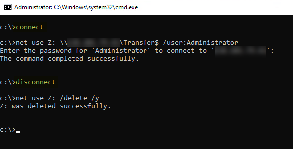 command prompt with connect and disconnect batch file