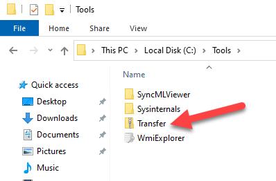 Transfer folder structure