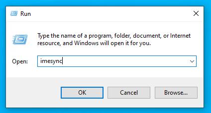 Windows run dialog with imesync batch fils